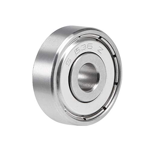 uxcell S636ZZ Stainless Steel Ball Bearing 6x22x7mm Double Shielded 636Z Bearings 1-Pack