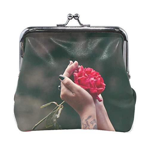 Women Hands Rose Tattoos Print Wallet Exquisite Clasp Coin Purse Girls Clutch Handbag