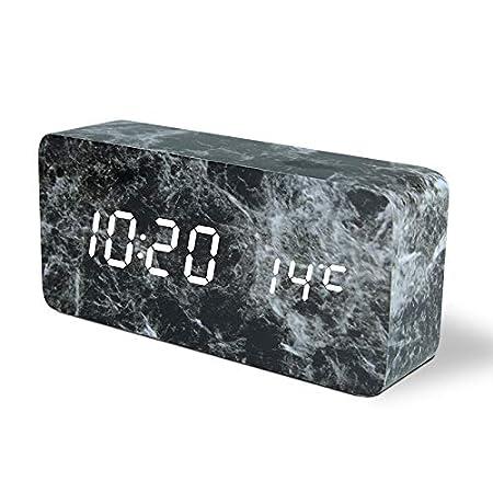 Noir Bashley R/éveil en Marbre,R/éveil Num/érique Horloge en Marbre Dimitation Carr/é avec Contr/ôle du Son Date Temp/érature Horloge de Bureau pour Chambre,Maison,Bureau