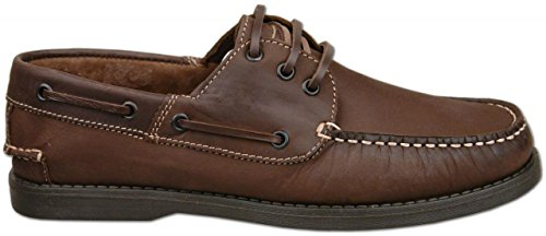 Mens Brown Crazy Horse Leather Deck / Boat Shoes Lace Up UK Size 6 7 8 9 10 11 12 yiU453RM