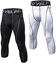 Andoer Leggings masculinos calça fitness 2 pares pacote de treino de secagem rápida Calças justas treino de ba