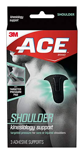 ACE Kinesiology Shoulder Support, Flexible Fiber, Pre-Cut Design Contours to Shoulder, Breathable, Water-Resistant, May Be Worn for up to Three Days