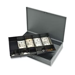 Sparco Cash Box, with 2 Keys, 10 Compartments, 15-2/5 x 10-1/2 x 2-2/5 Inches, GY (SPR15500)