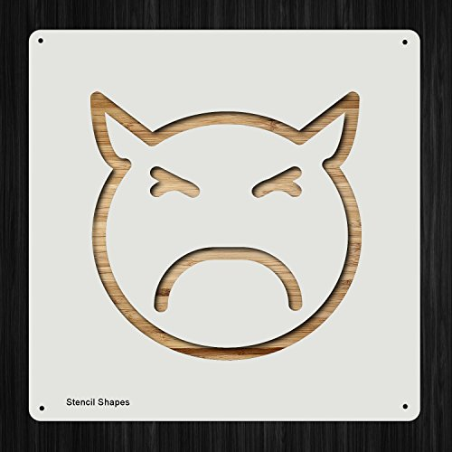 Emoji Angry Face Emotion Devil Plastic Mylar Stencil for Painting, Walls and Crafts, Item 996756 ()