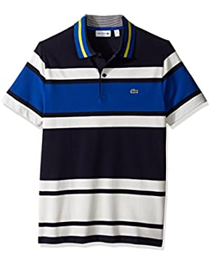Men's Short Sleeve Resort Bold Stripe Pique Polo