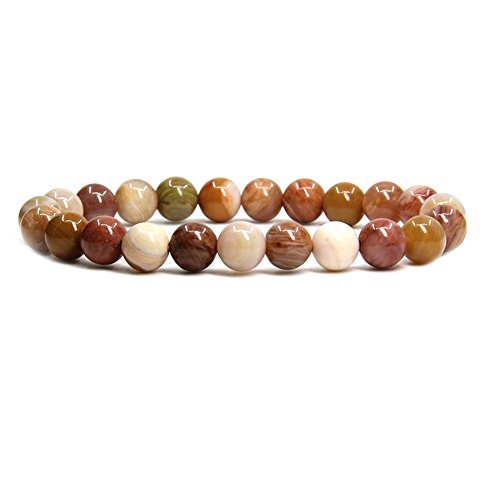 Amandastone Red Petrified Wood Jade Gem Semi Precious Gemstone 8mm Ball Beads Stretch Bracelet 7