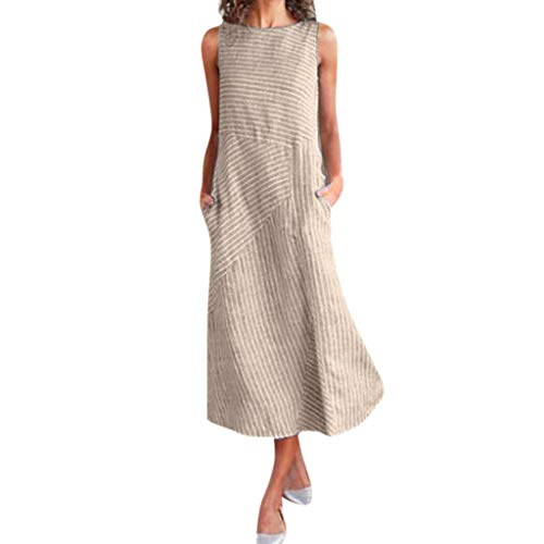 HIRIRI Women Crew Neck Linen Pocket Long Dress Casual Striped Print Summer Loose Sleeveless Dress Khaki