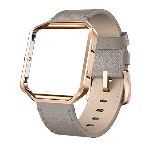 (SWEES Leather Bands Compatible Fitbit Blaze Smart Watch, Genuine Leather Replacement Band with Metal Frame Small & Large for Women Men, Champagne Gold, Rose Gold, Black, Brown, White, Grey, Beige)