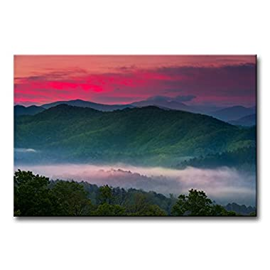 Modern Canvas Painting Wall Art The Picture For Home Decoration Spring Sunrise Mist Great Smoky Mountains National Park Landscape Mountain Print On Canvas Giclee Artwork For Wall Decor