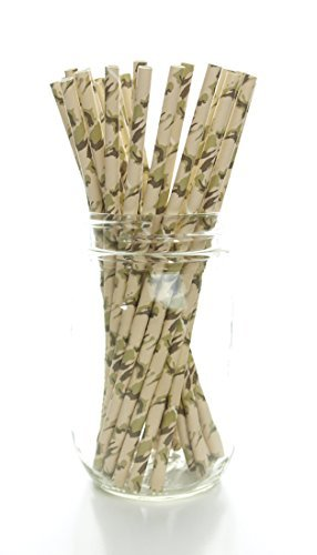Camouflage Straws (25 Pack) - Hunting Camo Pattern Paper Straws, Camouflage Party Supplies, Deer Hunter Print Drinking Straws (Camoflage Party Supplies)