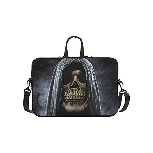 Dark Horned Demon Skull Pattern Briefcase Laptop Bag Messenger Shoulder Work Bag Crossbody Handbag for Business -