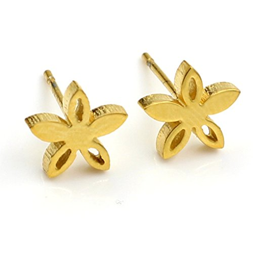 fonk: Gold Steel Five Leaf Shape With Crystal Beautiful Stud Earrings For Women Stainless Steel