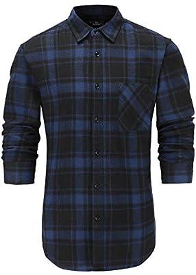 Emiqude Men's Casual 100% Cotton Slim Fit Long Sleeve Stylish Plaid Dress Shirt