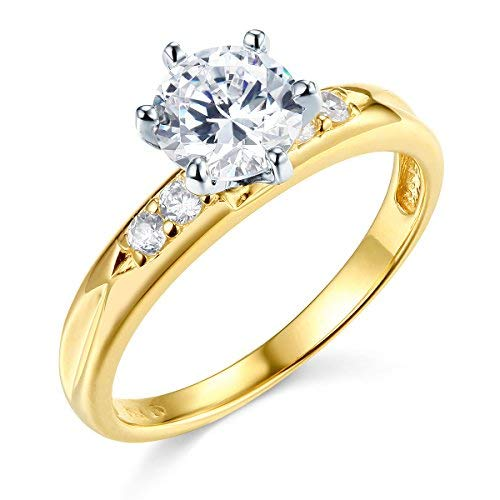 (GM Fine Jewelry 14K Yellow Gold Wedding Engagement Ring - Size 7.5)
