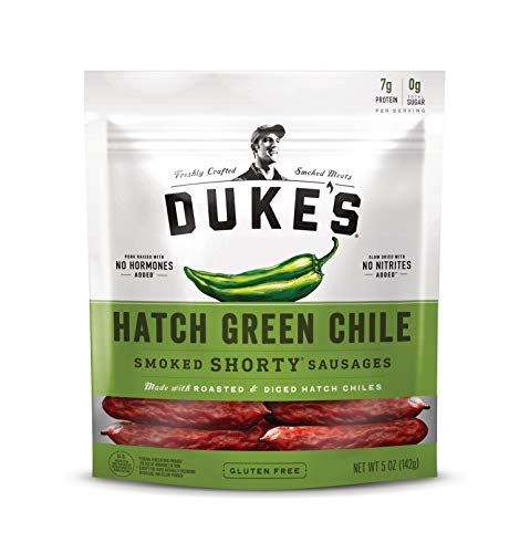 Duke's Hatch Green Chile Smoked Shorty Sausages, Keto Friendly, 5 Ounce, Pack of 8
