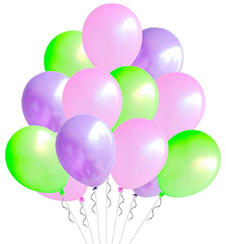 Elecrainbow 100 Pack 12 Inch 3.2 g/pc Thicken Round Pearlescent Latex Party Balloons for Party Decorations, Light Pink / Green / Purple Assorted