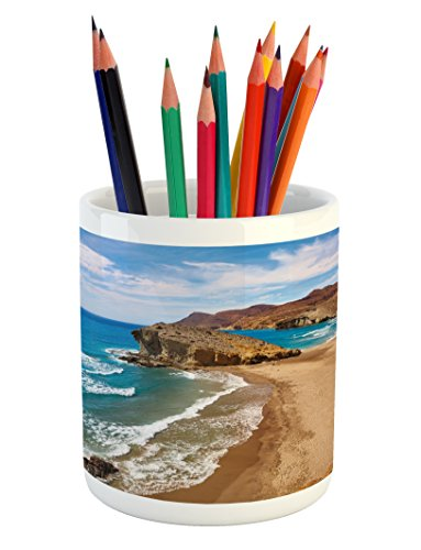 Ambesonne Landscape Pencil Pen Holder, Ocean View Tranquil Beach Cabo De Gata Spain Coastal Photo Scenic Summer Scenery, Printed Ceramic Pencil Pen Holder for Desk Office Accessory, Blue Brown by Ambesonne