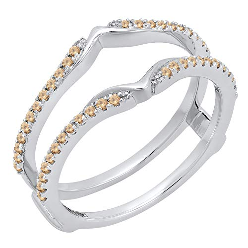 (Dazzlingrock Collection 0.25 Carat (ctw) 14K Round Champagne Diamond Wedding Band Double Ring 1/4 CT, White Gold, Size)