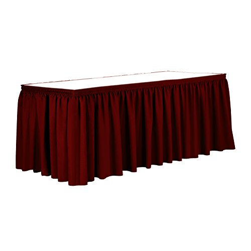 Ultimate Textile 14 ft. Shirred Pleat Polyester Table Skirt Cherry Red - Ruffle Cherry