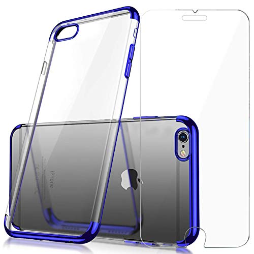 Case Cover Protector Blue (iPhone Case and Screen Protector Set Crystal Clear TPU Cover Case with Soft Shock Absorption Bumper and Tempered Glass Screen Protector for iPhone 6/6s (Blue))