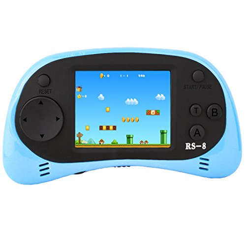 ZHISHAN Handheld Game Console for Children Built in 260 Classic Old Video Games Retro Arcade Gaming Player Portable Playstation Boy Birthday or Christmas Gift 8 Bit Rechargeable (Light blue)