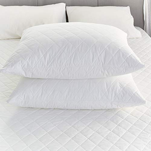 (Sunshine Comforts Quilted Pillow Protector Pair Zippered Pillow Case Cover Set of 2 STD Queen King (King))