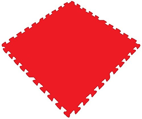 Get Rung Fitness Mat with Interlocking Foam Tiles for Gym Puzzle Flooring. Excellent for Child Care, Day Care, Garages, Workshops, home gyms, anti fatigue cushion safety flooring. Perfect Exercise Mat(RED, 48SQFT)
