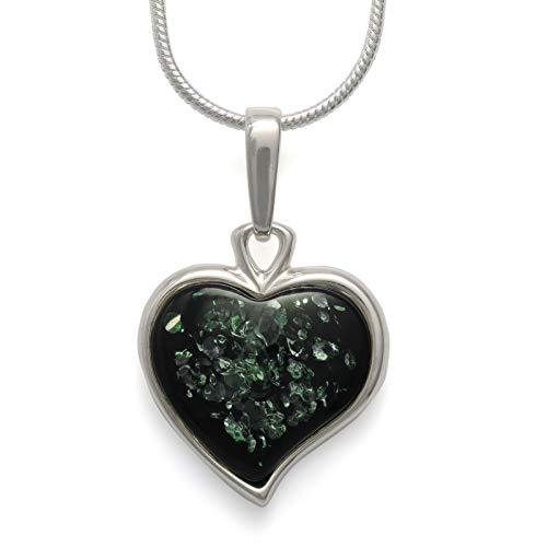 925 Sterling Silver Heart Pendant Necklace with Genuine Natural Baltic Green Amber. Chain included