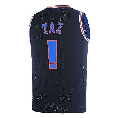 TAZ ! Mens Space Jam Jersey Basketball Jersey Sports Shirts (Black, Medium)