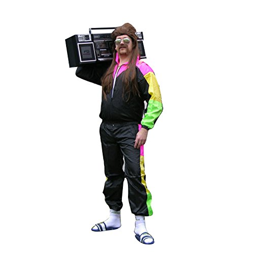 80s Fancy Dress Mens Costumes (80s Mens Ladies Retro Scousers Shell Suit Shellsuit Costume Tracksuit Fancy Dress)
