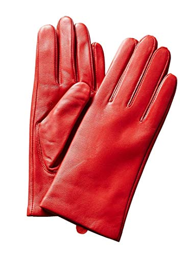 Saks Off Fifth Avenue Women's Leather Gloves, Cashmere-Lined 100% Sheepskin Leather, True Red ~ Size 7.5 - Avenue Cashmere Fifth