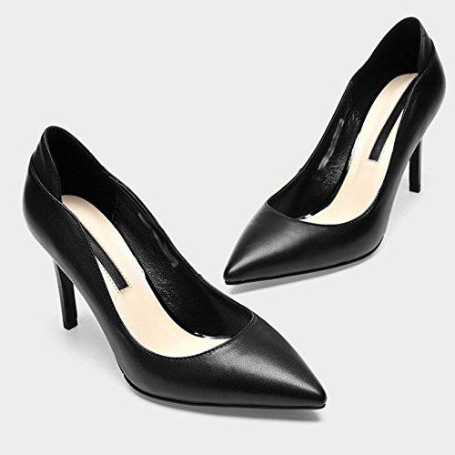 DKFJKI Talons Hauts en Cuir pour Femmes des Pompes Pointues des Chaussures de Travail Professionnel des Robes Black TSrXAcF