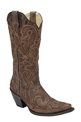 Corral Womens 13-inch Brown Embroidery & Studs Snip Toe Pull-On Western Leather Boots - Sizes 5-12 B Brown lnWjAwB933