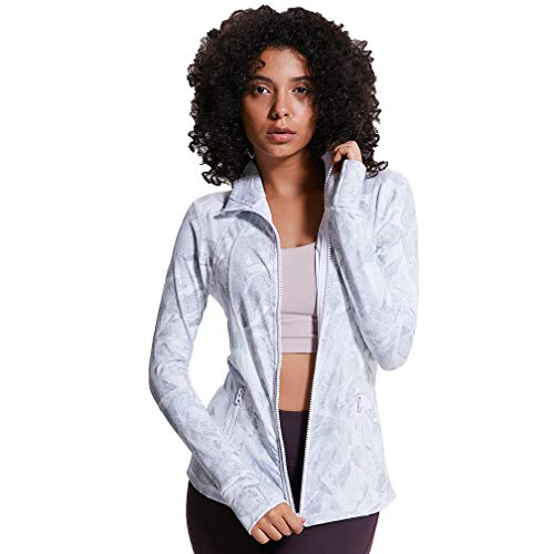 TERODACO Women's Lightweight, Full Zip Running Track Jacket Yoga Coat Stretchy w Thumb Holes