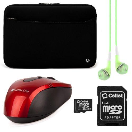 VanGoddy Neoprene Sleeve Cover for Asus ROG 17.3-inch Gaming Laptops + Green VG Headphones + Red Wireless USB Mouse + 16GB Memory Card (Black)