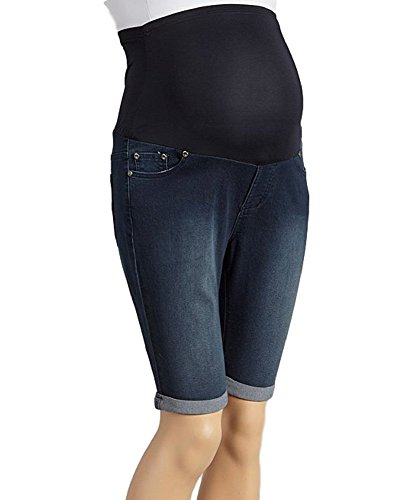 (Rumor Has It Maternity Over The Belly Cuffed Bermuda Cropped Jeans Shorts (Large, Medium))