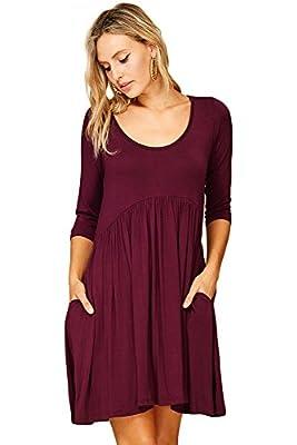 Annabelle Women's 3/4 Sleeve Empire Waist A Line Babydoll Pocket Swing Dress