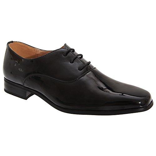 Goor Older Boys Patent Leather Lace-Up Oxford Tie Dress Shoes (6 US) (Black Patent)