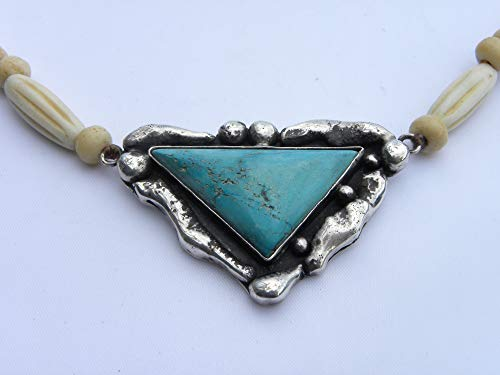 Unisex men or woman choker necklace 925 sterling silver turquoise vintage bone one of kind signed by artist MG total 19 inch long
