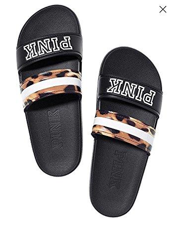 (Victoria's secret Pink Double Strap Slides Sandals Black Leopard - Small 5/6)
