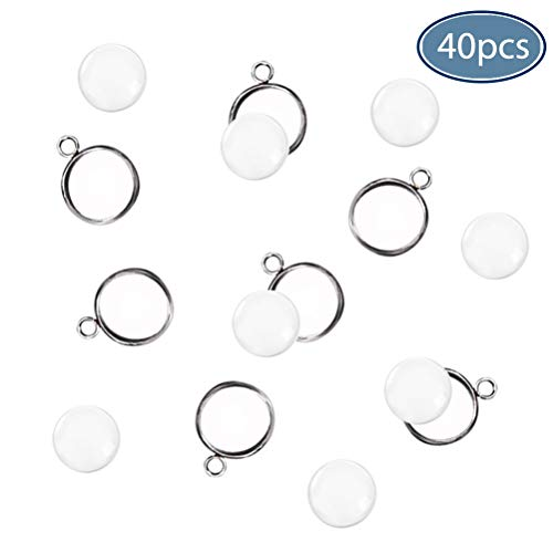 (40 Pieces Transparent Glass Cabochons with 40pcs Stainless Steel Pendant Trays Clear Round Dome Non-Calibrated 25mm for Photo Craft Jewelry Making)