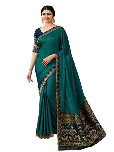 (Indian Sari Fashion Designer Ethnic Sparkle Saree SHEESHA Heritage (Turquoise))