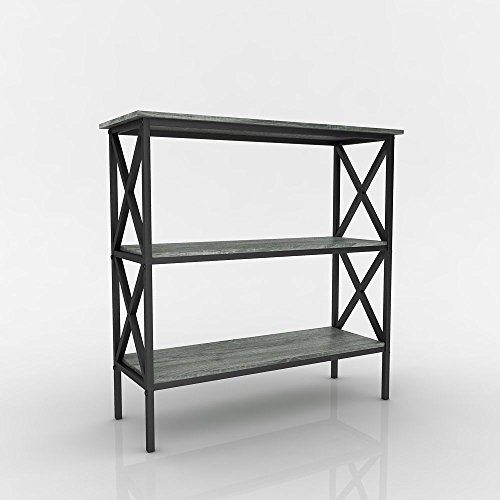 Weathered Grey Oak Finish 3-Tier Metal X-Design Bookcase Bookshelf Console Sofa Table (Sofa Table Book Shelf)