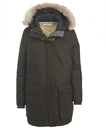 Woolrich White Collection Women's Wool Face Patrol Down Parka, Dark Loden Heather, L
