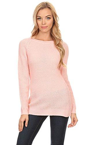 Women's Basket Weave Long Junior Sweater (Small, Pink)