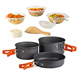 Wealers Ultimate 11 Piece Outdoor Cooking Kit - Compact Lightweight Cookware Set Includes Utensils, Pots and Bowls Excellent for Camping / Backpacking / Hiking / BBQ / Survival
