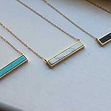 e065d29453da7b Gold Bar Necklace, Bar Jewelry, Marble Necklace, Marble Jewelry, White  Howlite.