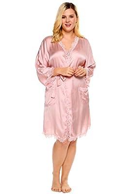 Ekouaer Plus Size Women Kimono Robe with Lace Pockets Nightgown Sleepwear with Oblique V-Neck