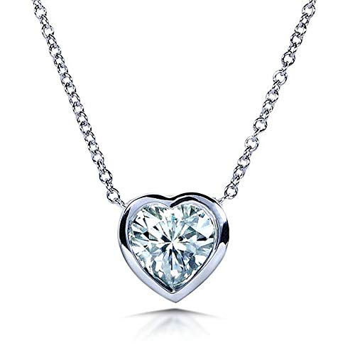 Heart Bezel Moissanite Solitaire Necklace 14K White Gold (16