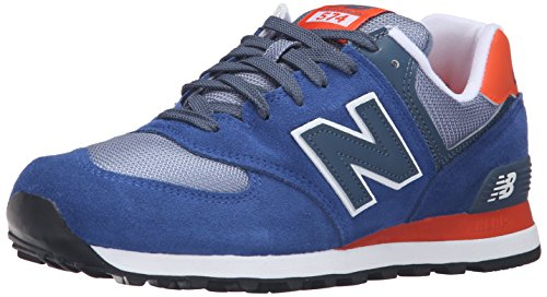 New Balance Men's ML574 Core Plus Fashion Sneakers, Navy/Red, 11 D US
